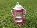 Cherub Baby Wide Neck Glass Sippy Cup with Colour Change Sleeve 240ml – Pink