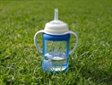 Cherub Baby Wide Neck Glass Straw Cup with Colour Change Sleeve 240ml – Blue