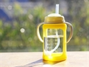Cherub Baby Wide Neck Glass Straw Cup with Colour Change Sleeve 240ml – Yellow
