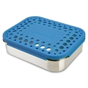 Lunchbots Blue Dots Stainless Steel Lunchboxes - Medium Trio Compartments