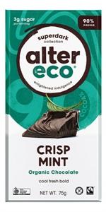 Picture of Alter Eco, Organic Chocolate, SuperDark Crisp Mint 75 g