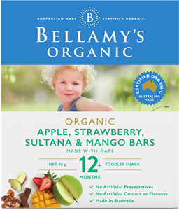 Picture of Bellamy's Organic Apple, Strawberry, Sultana & Mango Bars 90gm