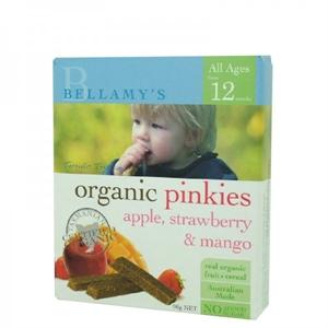 Picture of Bellamy's Organic Pinkies Apple, Strawberry & Mango 90gm