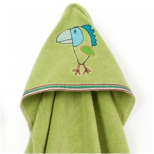 Picture of Breganwood Organics Baby & Toddler Hooded Towel: Rainforest Collection - Funny Bird