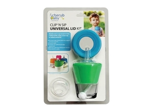 Picture of Cherub Baby Clip 'N Sip Universal Straw Spout & Teat Silicone Stretch Lid Twin Pack – Blue & Green