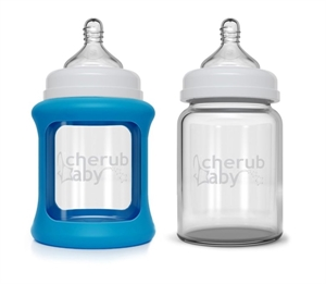 Picture of Cherub Baby Colour Change Glass Baby Bottles Wide Neck 150ml Twin – Blue