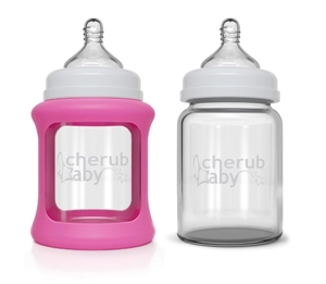 Picture of Cherub Baby Colour Change Glass Baby Bottles Wide Neck 150ml Twin – Pink