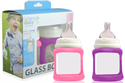 Picture of Cherub Baby Colour Change Glass Baby Bottles Wide Neck 150ml Twin – Pink & Purple