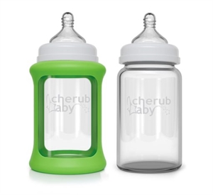 Picture of Cherub Baby Colour Change Glass Baby Bottles Wide Neck 240ml Twin Pack – Green