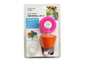 Picture of Cherub Baby Sippy, Straw and Teat Universal Silicone Stretch Lid Kit – Pink & Orange