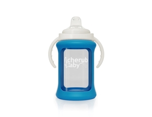 Picture of Cherub Baby Wide Neck Glass Sippy Cup with Colour Change Sleeve 240ml – Blue