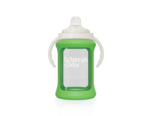 Picture of Cherub Baby Wide Neck Glass Sippy Cup with Colour Change Sleeve 240ml – Green