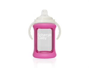 Picture of Cherub Baby Wide Neck Glass Sippy Cup with Colour Change Sleeve 240ml – Pink