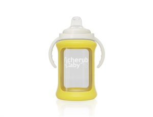 Picture of Cherub Baby Wide Neck Glass Sippy Cup with Colour Change Sleeve 240ml – Yellow
