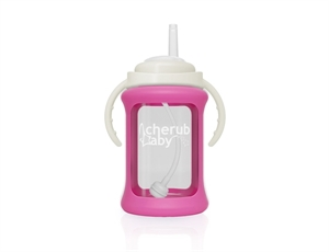 Picture of Cherub Baby Wide Neck Glass Straw Cup with Colour Change Sleeve 240ml – Pink