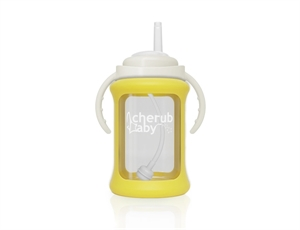 Picture of Cherub Baby Wide Neck Glass Straw Cup with Colour Change Sleeve 240ml – Yellow