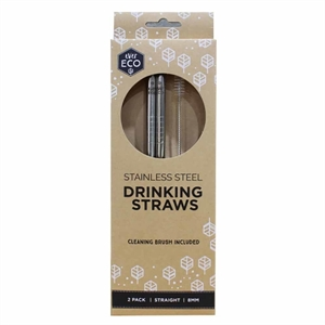 Picture of Ever Eco Stainless steel straws 2 Pack straight + Brush