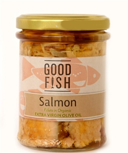 Picture of Good Fish Alaskan Salmon in Extra Virgin Olive Oil 200gm jar