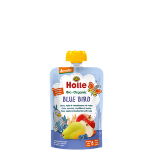 Picture of Holle Organic Blue Bird - Pouch pear, apple & blueberries with oats 90gm