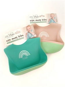 Picture of Little Woods Wipe Away Silicone Bibs- Pink & Mint (2 pack)