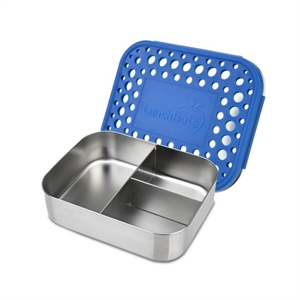 Picture of Lunchbots Blue Dots Stainless Steel Lunchboxes - Medium Trio Compartments