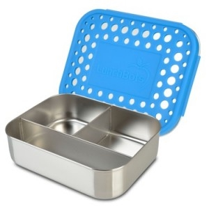 Picture of Lunchbots Blue Dots Stainless Steel Lunchboxes in Trio Compartments