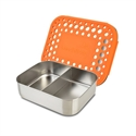 Picture of Lunchbots Orange Dots Stainless Steel Lunchboxes - Medium Duo Compartment