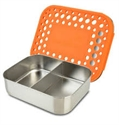 Picture of Lunchbots Orange Dots Stainless Steel Lunchboxes in Duo Compartments