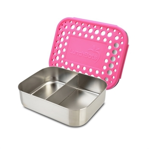 Picture of Lunchbots Pink Dots Stainless Steel Lunchboxes - Medium Duo Compartments