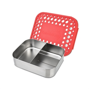 Picture of Lunchbots Red Dots Stainless Steel Lunchboxes - Medium Trio Compartments