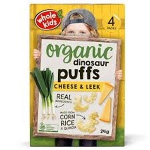 Picture of Whole Kids Organic Dinosaur Puffs Cheese & Leek - 24g