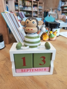 Picture of Wooden Animal Calendar Block Monkey
